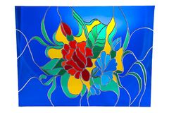 Flowers on blue background - stained glass Stock Image