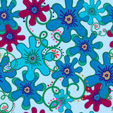 Flowers-blue-and-curls. Seamless pattern flowers blue and curls on Very soft blue background. For printing on packaging, bags, cups, laptop, furniture, etc Stock Image