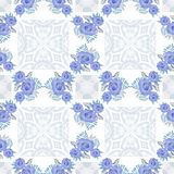 Flowers blue floral seamless pattern lace white Royalty Free Stock Photo