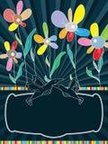 Flowers Blue Invitation_eps royalty free illustration