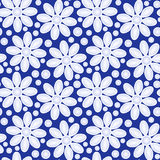 Flowers on blue seamless background. Daisies with blue background. Seamless Tile Stock Photo