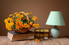 Flowers, Books, Jewelry Box And Table Lamp Royalty Free Stock Photo
