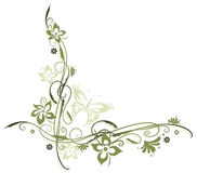 Flowers, border. Flowers in olive and green with butterfly Royalty Free Stock Image