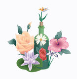 Flowers , bottle icons and logos Stock Photography