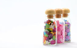 Flowers in bottles. Collection of flowers in bottles Stock Photos