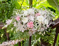 Flowers bouquet arrange for decoration in wedding ceremony Stock Photo