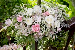 Flowers bouquet arrange for decoration in wedding ceremony Royalty Free Stock Photography