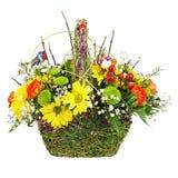 Flowers bouquet arrangement centerpiece in wicker basket. Stock Images