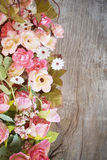 Flowers bouquet on blurred wood background Royalty Free Stock Photos