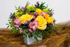 Flowers bouquet. A bunch of colorful flowers; floral art Stock Photo