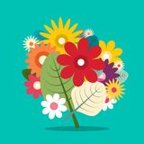 Flowers Bouquet. Colorful Vector Flat Design Spring Flowers. Background royalty free illustration