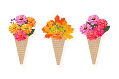 Flowers bouquet in a cone Vector background illustration. S Royalty Free Stock Photo