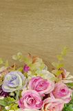 Flowers Bouquet Decorated on Old Wood Background. Royalty Free Stock Photo