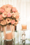 Flowers bouquet on dining table Royalty Free Stock Image