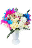 Flowers bouquet, floral arrangement with cream roses and dyed fe Stock Photography