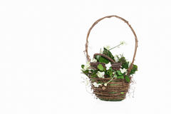 Flowers. Bouquet of flowers in basket  on white Stock Image