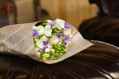 Flowers bouquet of freesia. Flowers bouquet of fresia in interior Stock Photo