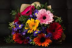 Flowers bouquet of gerbera, iris, and pistacia. On dark background Royalty Free Stock Images