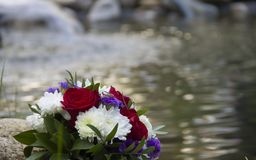 Flowers. Bouquet of flowers on the lake Stock Image