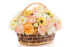 Flowers bouquet peony in basket, isolated white backgound Stock Photography