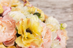 Flowers bouquet of peony, summer arrangement Stock Images