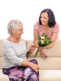 Flowers bouquet present for old mother birthday Stock Photo