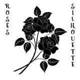 Flowers Bouquet, Roses Silhouette. Roses Bouquet, Three Black Flowers Silhouette on White Background, Floral Gift, Symbolic Pictogram for Your Design. Vector Royalty Free Stock Photo