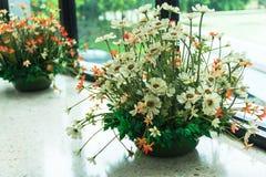Flowers bouquet in the vase. On the floor. Interior design. Vertical Stock Photos