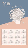 Flowers bouquet  in watering can calendar year 2018. Business english calendar for wall on year 2018 on the gradient background with hand drawn floral bouquet Royalty Free Stock Photos