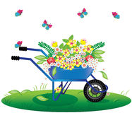 Flowers bouquet in wheelbarrow Stock Images