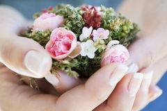 Flowers bouquet. Woman hands with Flowers bouquet Stock Images