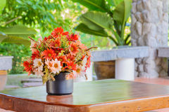 Flowers bouquet on wood table Stock Images