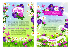 Flowers bouquets for Welcome Summer time posters. Welcome Summer posters set flowers bouquets and blooming summertime field of viola or iris blossoms, clover Stock Photos