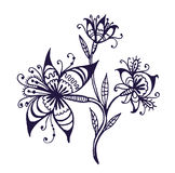 Flowers on a branch doodle  illustration Royalty Free Stock Photos