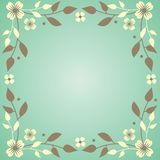 Flowers and branches. Green spring background with flowers Stock Illustration