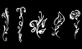 Flowers and branches hand drawn collection isolated on black background. Floral graphic elements. Big vector set. Simple style.  royalty free illustration