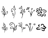 Flowers and branches isolated on white background. Hand drawn doodle collection. 10 floral graphic elements. Big vector set. Outline icons vector illustration
