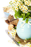 Flowers and bread stock photos