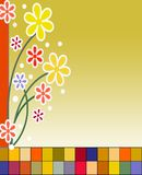 Flowers on brick illustration. Pretty illustrated flowers on colorful brick wall Royalty Free Stock Photo
