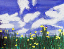 Flowers bright field, Florida. Watercolor and acrylic art painting of yellow flowers in a field of green grass, and bright blue sky with white clouds in Florida Stock Illustration