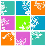 Flowers in Bright Squares. Brightly colored abstract vector of flower silhouettes Royalty Free Stock Photography