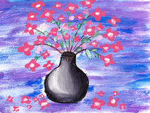 Flowers brush paint sketch. Abstract vase Stock Image