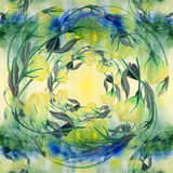 Flowers, buds and leaves - drawing by watercolor. Aquilegia.Watercolor background. Abstract wallpaper with floral motifs.  Seamles Royalty Free Stock Images