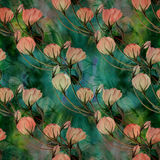Flowers, buds and leaves - drawing by watercolor. Aquilegia.Watercolor background. Abstract wallpaper with floral motifs.  Seamles Stock Photo