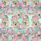 Flowers, buds and leaves - drawing by watercolor. Aquilegia.Watercolor background. Abstract wallpaper with floral motifs.  Seamles Stock Photography