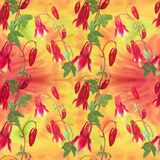 Flowers, buds and leaves - drawing by watercolor. Aquilegia.Watercolor background. Abstract wallpaper with floral motifs.  Seamles Royalty Free Stock Image