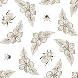 Flowers and bugs seamless pattern Stock Photo