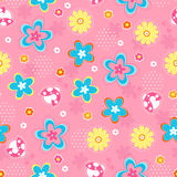 Flowers and Bugs Seamless Repeat Pattern. Spring Flowers and Bugs Seamless Repeat Pattern Vector Illustration Royalty Free Stock Photos