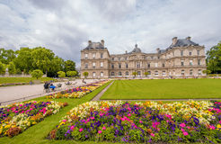 Flowers and buildings of Luxembourg Gardens in Paris Royalty Free Stock Images