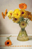 Flowers bunch. Beautiful yellow bunch of flowers on the table Stock Photo
